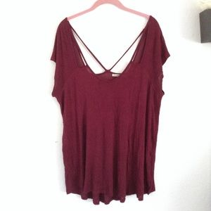 Charlotte Russe xl burgundy cut out top